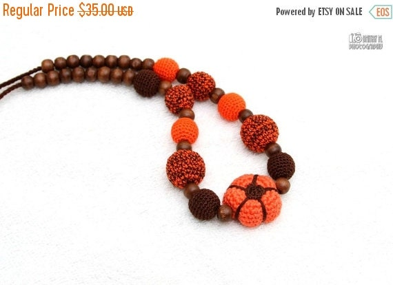 SALE 25% off Pumpkin Amigurumi toy Halloween Organic Nursing necklace Crochet Breastfeeding Sling necklace Fall jewelry