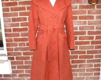BEAUTIFUL 1950s wool coat pale terra cotta sz S-M