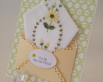 Daisies Embroidered Vintage Handkerchief Yellow Green Special Friend Co Worker Unique Keepsake Gift Hanky Greeting Card
