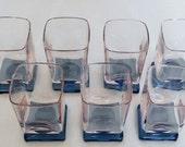 Vintage Set of 7 Square Pink Tinted Dark Footed Cocktail or Juice Glasses, 7 Square Footed Cocktail Glasses, Cocktail Glasses, Juice Glasses