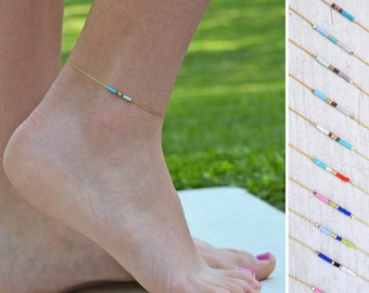 Minimalist Gold Anklet, Tiny beaded Ankle Bracelet, Dainty Festival Anklet, Minimalist Anklet with little beads,  Layering