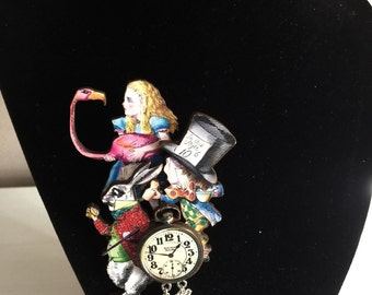 Mad Hatter and Alice Brooch