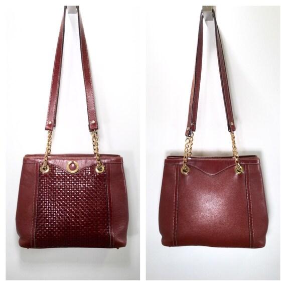 vintage bally bag brown leather handbag woven leather shoulder