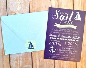 Printable Nautical Shower Invitations, Nautical Baby Shower, Nautical Bridal Shower, Anchor Invitations, DIY Digital Nautical Invitations