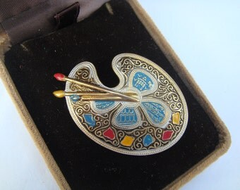 vintage DAMASCENE etched Painter's PALETTE PIN brooch gold tone Artist painting art Made in Spain Jd1-128