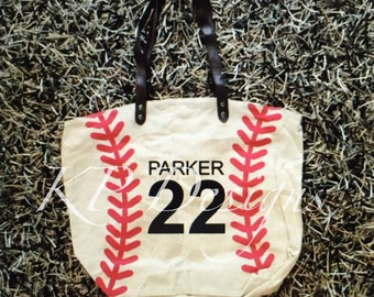 Large Personalized Baseball or Softball Tote