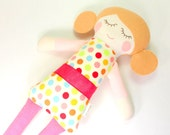 Soft Cotton Rag Doll -- Cleo Snuggle Doll -- Cotton Jersey Doll -- Rag Doll in with Wheat Hair and Fun Polka Dot Outfit with Organic Ribbon