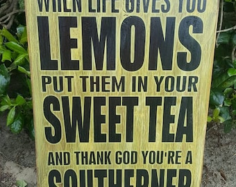 """12 x 18 inch Wooden """"When Life Gives You Lemons"""" Sign"""