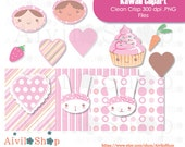 KAWAII CLIPART!!! Price cut!! kawaii cupcake, kawaii rabbit, kawaii heart, kawaii girls, cute, carrot, strawberry, dots, lines