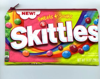New! Skittles Candy Wrapper Recycled Zippered Bag/Pouch