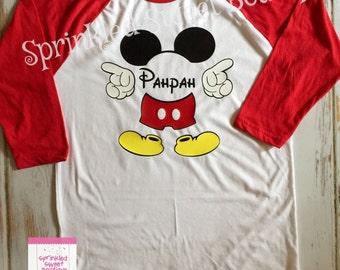 Mickey Mouse Monogram Name Custom Raglan Baseball Shirt Custom Women Girls Family Perfect for Disney World Trip First Birthday