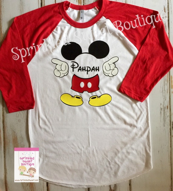 Mickey mouse monogram name custom raglan baseball shirt custom for Custom raglan baseball shirt
