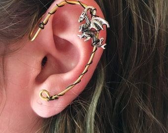Ear Cuff, Ear Wrap, Dragon Earcuff, Dragon Ear Cuffs, Wire Ear Cuff
