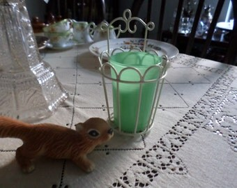 Vintage Jadite/Green Drinking/Beverage Glass with Ivory Metal Holder-Bathroom/Wall