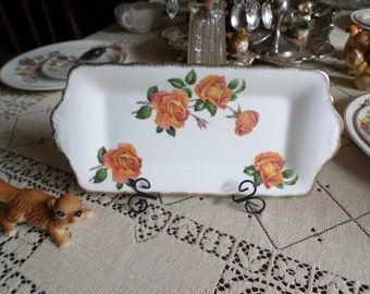 Vintage Queen Anne England-Anniversary Rose Serving/Dresser/Vanity Tray-Orange-Pink Roses