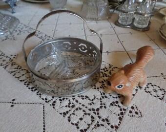 Vintage Divided Glass Relish/Serving/Candy Dish in Handled Metal Holder