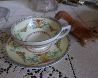 Myott England Royal YorkTeacup and Saucer Set-Multi Colord Floral-Porcelain Slip