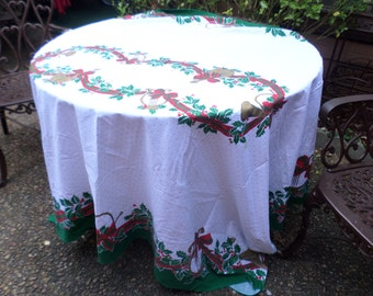 "Sunweave 81""x61"" Red/Green/White/Gold with Poinsettias/Instrument Linen/Cotton Tablecloth-Christmas Holiday-Serving/Table Decor"
