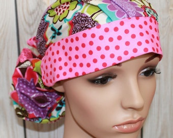Devorppa Noir with Pink Dot Band,Surgical Scrub Hat,Scrub Cap, Front Fold Ponytail