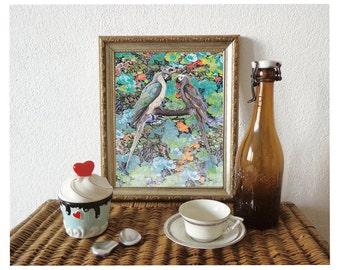 Art Print, Floral Parrot Illustration, Decorative Art, Blue Flowers Mixed Media, Parrots Illustration/ 8x10 inches
