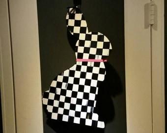 Easter Bunny Rabbit door hanging.  Black and white checks.