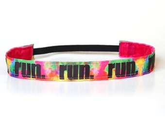 Color Run Headband, Running Accessory, Gifts for Runners, 5k Headband, Tie Dye Accessory, NonSlip Hair Band, Running Headband, Team Gift