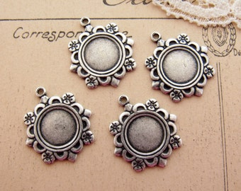 Ornate Antiqued Silver Vintage Style Floral 9mm Round Frame Setting Charm 1 Ring Drop Dangle Findings - 4