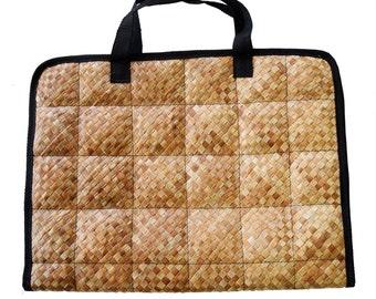 "Laptop Bag pouch Handwoven mat ""banig"" pattern"