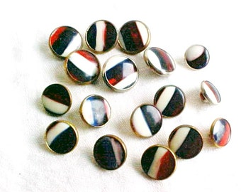 Vintage Buttons - Red White Blue Stripes  - Patriotic Buttons - Glass and Metal - 3 sizes - 17 button set - Hand Crafted Glass