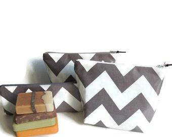 Cosmetic Bags / Makeup Bags / Chevron Makeup Bags / Handmade Travel Bags / Set of makeup bags
