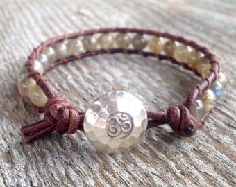 om labradorite sterling silver beaded leather wrap bracelet yoga jewelry guys and girls