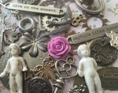 Free Shipping Eclectic Infusion Metal Lot Supplies Frozen Charlotte Dolls Craft Supplies Altered Art Supply Found Objects Mixed Media