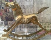 Antique Rocking Horse Etsy Home Accents Babys Room Solid Brass Horse