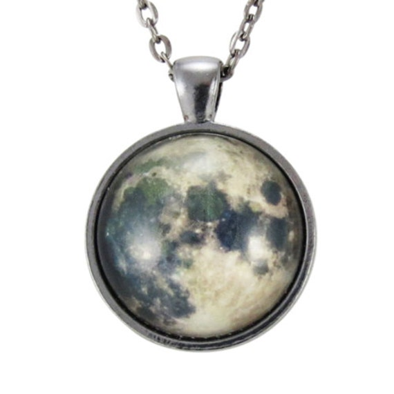 Full Moon Necklace, Outer Space Pendant, Galaxy Jewelry, Nu Goth (0439G1IN)