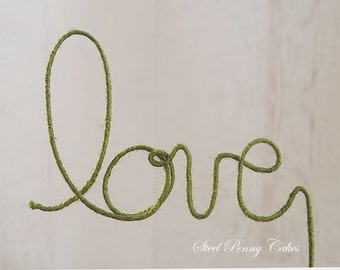 "Rustic Wire Wedding Cake Topper ""Love"""