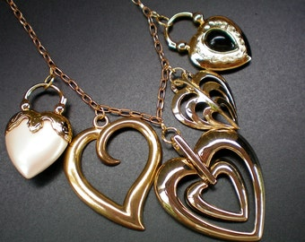 Multi gold heart bib style necklace. Recycled jewelry, Handmade jewlery, Repurposed jewelry,upcycled, Free USA shipping, USA & Michigan made