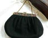 Antique Handbag - 1930's Pleated Organza Bag - Etched Brass Frame - Filigree Clasp - Black Petit Point Bag - Evening Pleated Silky Handbag