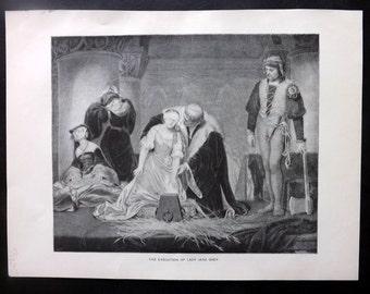 Cobham Brewer 1892 Antique Print. Execution of Lady Jane Grey