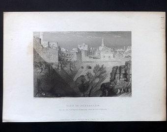 Finden 1836 Antique Print. View In Jerusalem, Israel