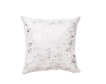 Silver Metallic Spatter on White Linen Pillow Covers