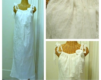 Waterlily Wedding Dress Beach Simple Maxi Gown White Gold Kantha Bridal Adjustable One Size Womens Cotton Gauze