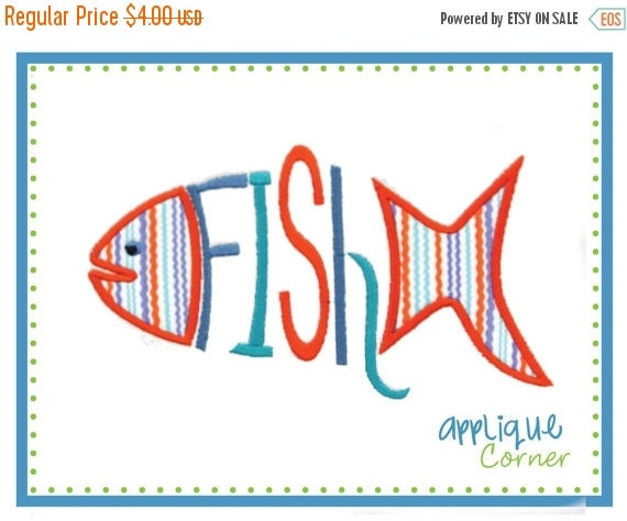 ON SALE 540 Fish Word applique digital design for embroidery machine by Applique Corner