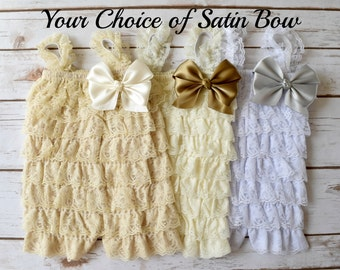 White Romper, Ivory Romper, Cake Smash Outfit Girl, Baptism Dress, Christening Dress, Lace Romper, Baby Romper, Toddler Romper, Romper