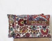 rug pillows, 12 x 18, SET OF TWO,  decorative pillow covers, vintage, in red, beige and blue, ethnic housewares, throw pillows, velour 53