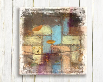 Geometric abstract canvas art - Pastel colors on canvas - Wedding gift idea