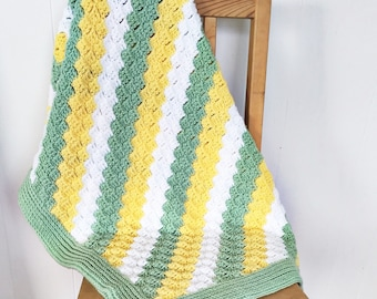 READY TO SHIP: Crochet Striped Baby Blanket