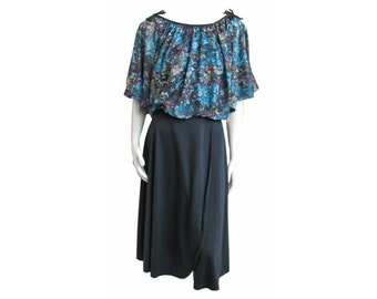 Vintage 1970s Boho Dress Floral Print Cape Top with Wrap Skirt UNWORN with Tags