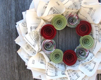 Christmas Wreath, Music Wreath for Christmas with Red and Green Flowers, 10""