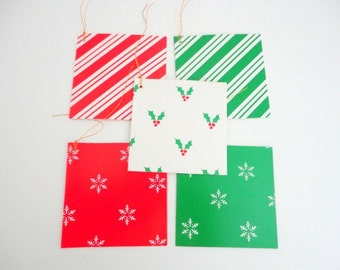 Vintage Christmas Tags SET of 50 Lillian Vernon 1980s Green White snowflake Thank you tags