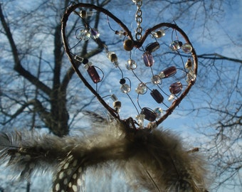 Heart Shape Crystal dream catcher Sun Catcher~earth tones